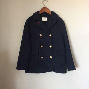 ZARA girls pea coat gold navy buttons 9-10